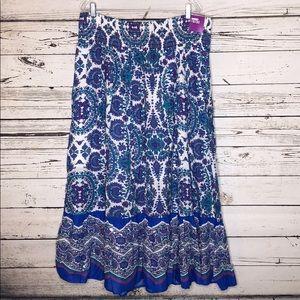 Lane Bryant NWT 18/20 Blue Floral Print Maxi Skirt